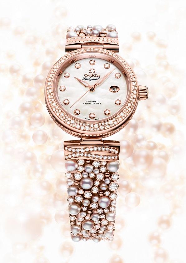 Faussemontrerolex-Omega-Perles-Et-Diamants-Ladymatic