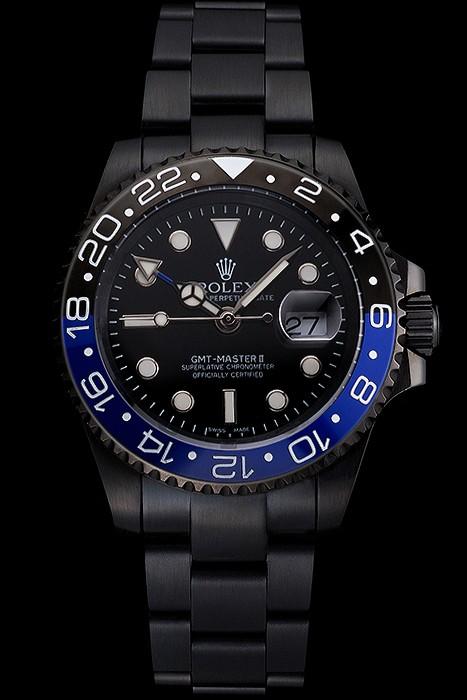 FausseMontreRolex-Rolex-GMT-Noir-Et-Bleu