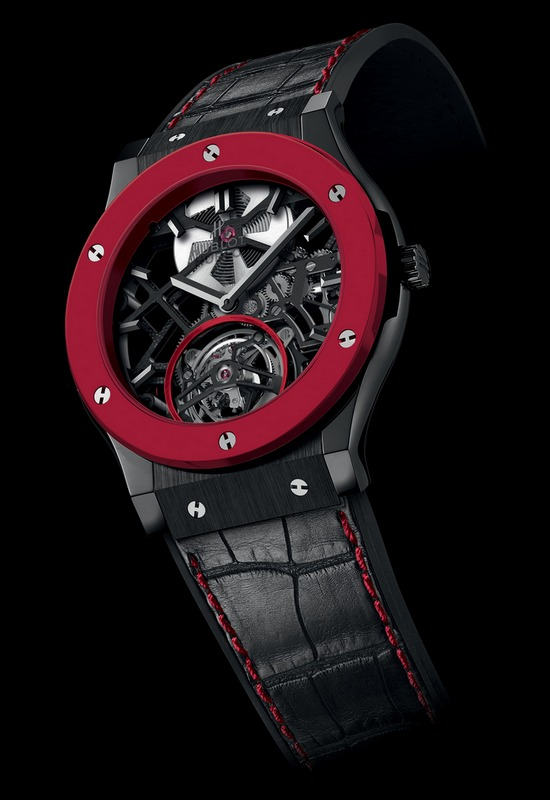 hublot-classic-fusion-red-n-black-ceramic-skeleton-tourbillon-copie-montre-pas-cher